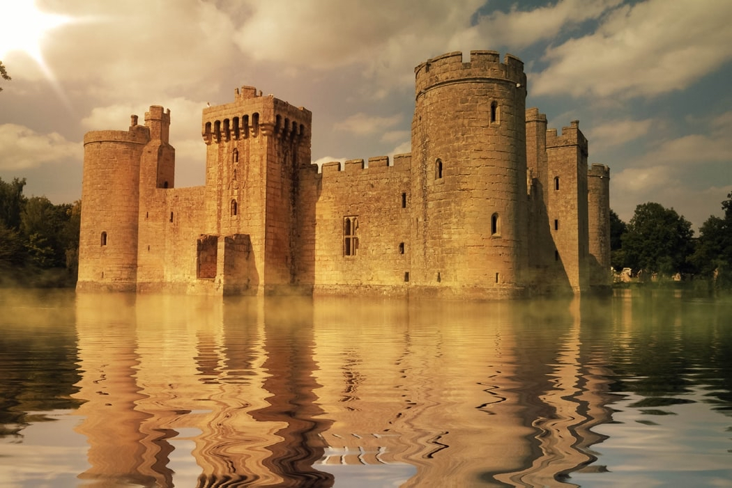 A castle surrounded by water